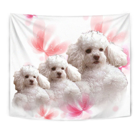 Cute Poodle On Soft Pink Print Tapestry-Free Shipping