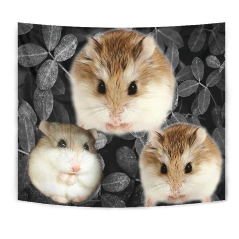 Roborovski Hamster On Black Print Tapestry-Free Shipping