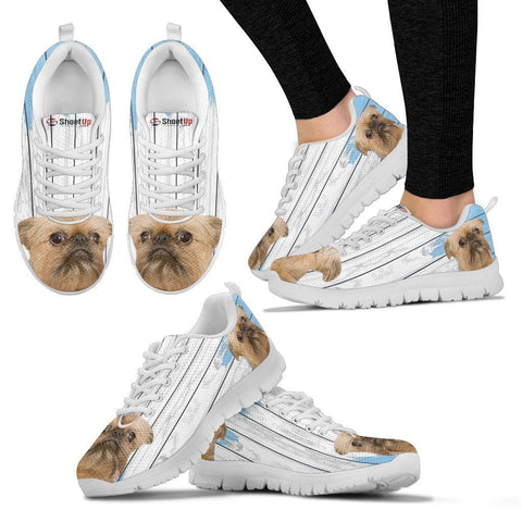 Brussels Griffon (Griffon Bruxellois) Blue White Print Sneakers For Women-Free Shipping
