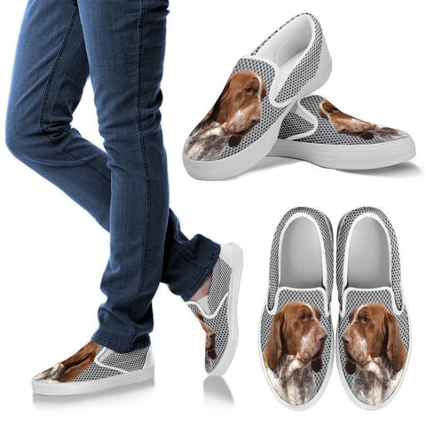 Bracco Italiano Dog Print Slip Ons For Women-Express Shipping