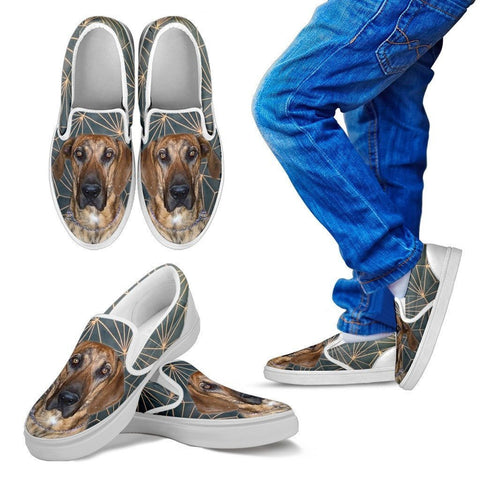 Plott Hound Dog Print Slip Ons For Kids-Express Shipping