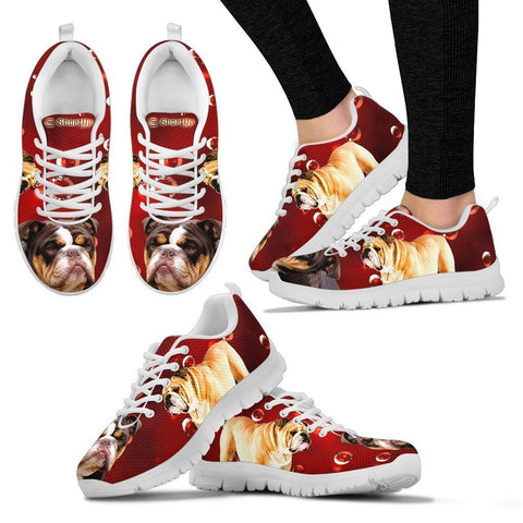 Bulldog On Red-Women's Running Shoes-Free Shipping