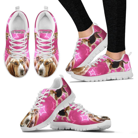 Basset Hound on Pink Print Running Shoes For Women- Free Shipping