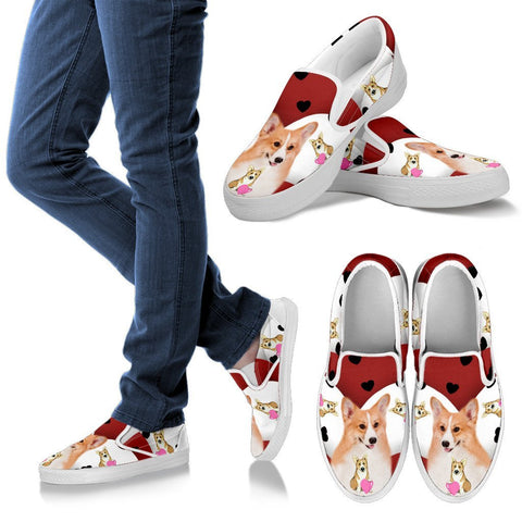 Valentine's Day Special-Pembroke Welsh Corgi Print Slip ons For Women-Free Shipping