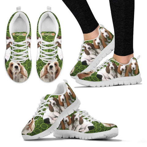 Basset Hound On Green-Women's Running Shoes-Free Shipping