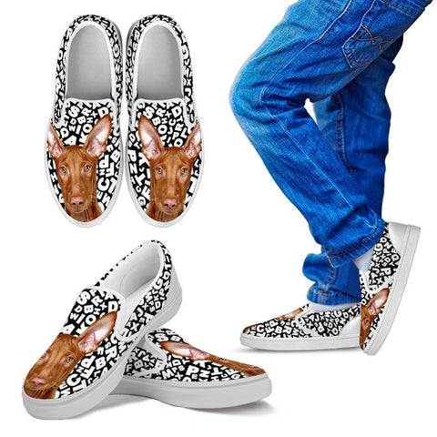 Pharaoh Hound Dog Print Slip Ons For Kids-Express Shipping