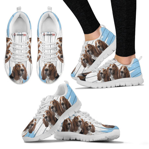 Basset Hound Blue White Print Sneakers For Women-Fee Shipping