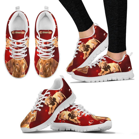 Vizsla On Red-Women's Running Shoes-Free Shipping
