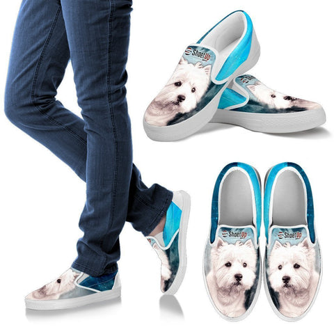 West Highland White Terrier (Westie) Print Slip Ons For Women- Free Shipping