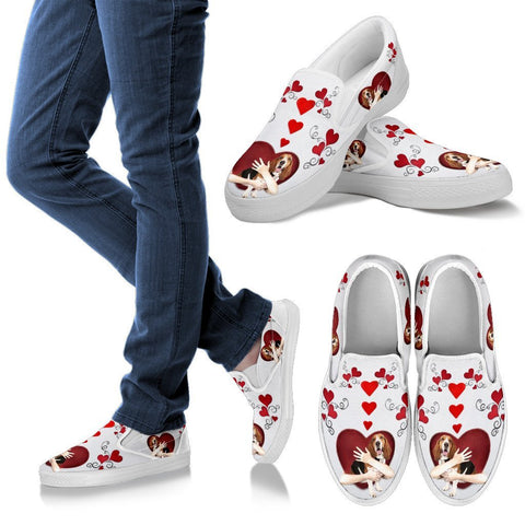 Valentine's Day Special-Basset Hound Dog Print Slip Ons For Women-Free Shipping