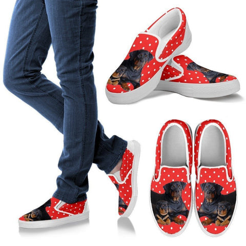 Rottweiler Dog Print Slip Ons For Women-Express Shipping