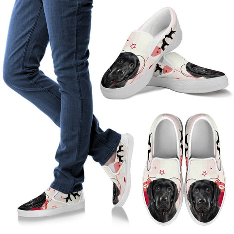 Valentine's Day Special Black Labrador Retriever Print Slip Ons For Women- Free Shipping
