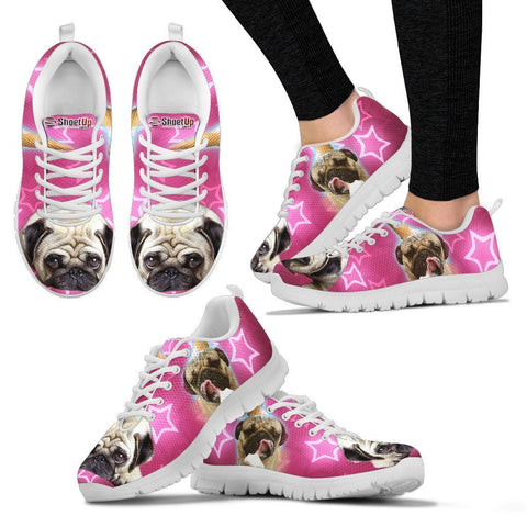 Pug Dog On Pink Print Running Shoes For Women- Free Shipping