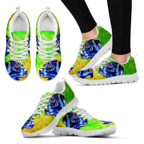 Painted Labrador Print (Black/White) Running Shoes For Women-Free Shipping