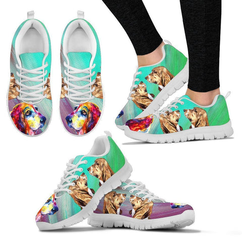 Painted Basset Hound Print Running Shoes For Women-Free Shipping