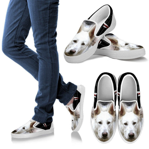 White Shepherd Print Slip Ons For Women- Express Shipping
