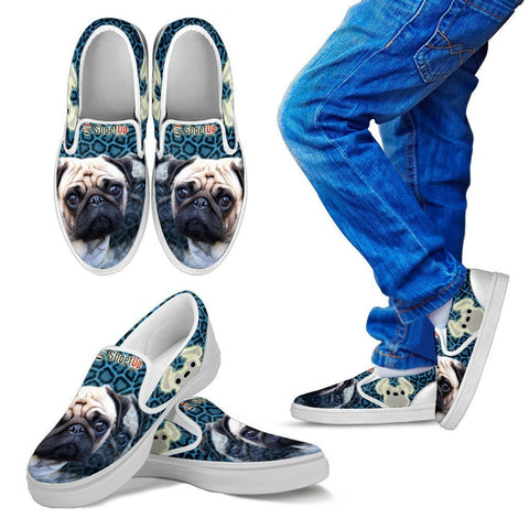 Lovely Pug Print-Kid's Slip Ons-Free Shipping