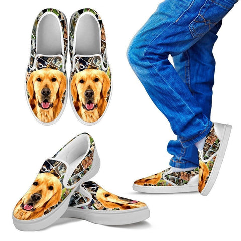 Amazing Golden Retriever  Print Slip Ons For Kids-Express Shipping