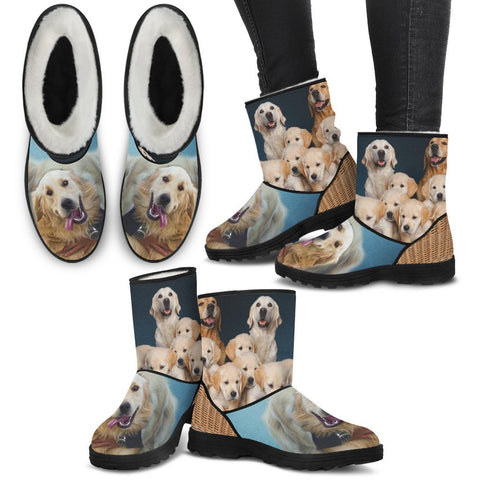 Golden Retriever Print Faux Fur Boots For Women-Free Shipping