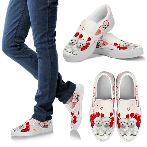 Valentine's Day Special Maltese Dog Print Slip Ons For Women- Free Shipping