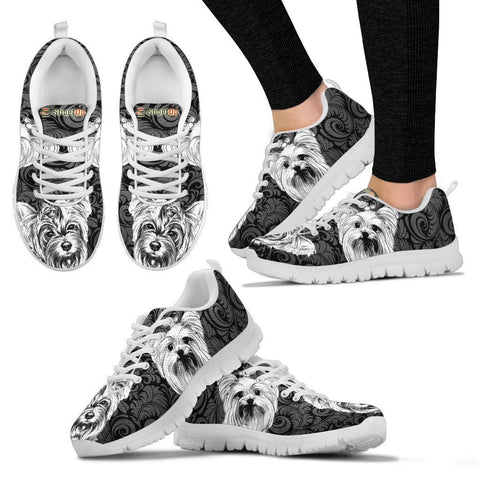 Yorkshire Terrier On Black-Women's Running Shoes-Free Shipping