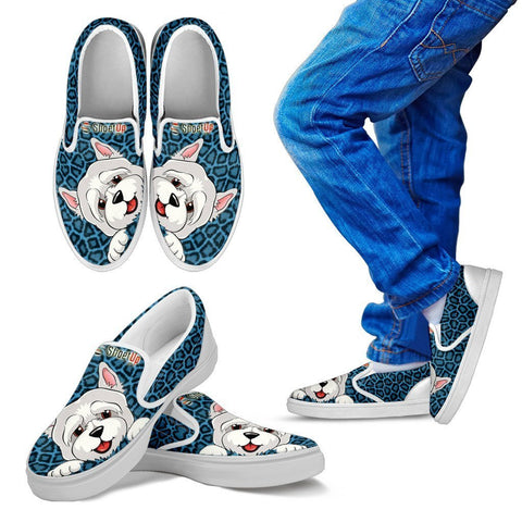 Westie Print-Kid's Slip Ons-Free Shipping