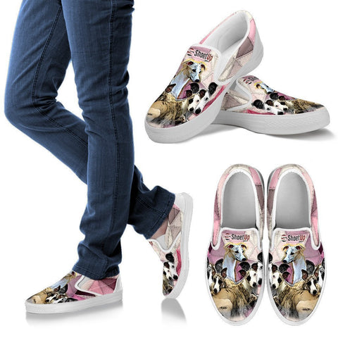 Whippet Dog Print Slip Ons For Women- Free Shipping