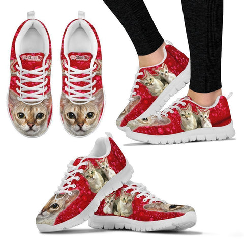 Singapura Cat On Red Print Sneakers For Women- Free Shipping