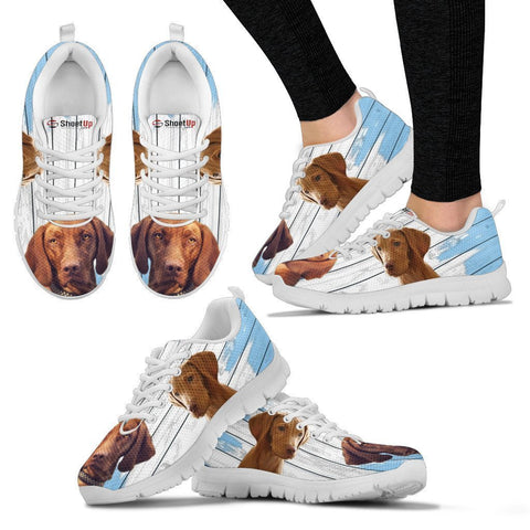 Vizsla Dog Blue White Print Sneakers For Women-Free Shipping