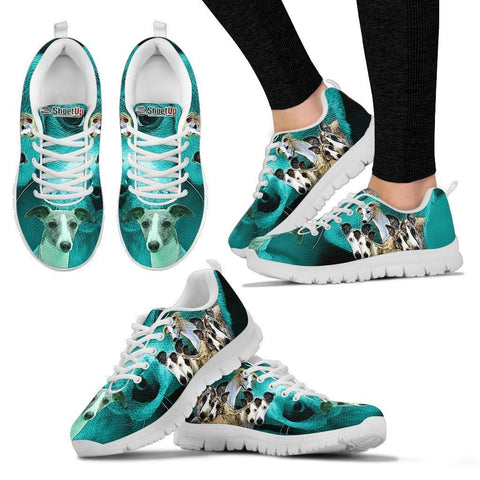 Whippet Dog On Deep Skyblue Print Running Shoes For Women-Free Shipping