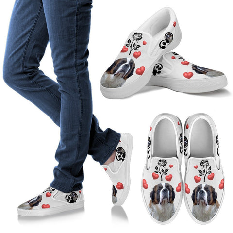 Valentine's Day Special-Saint Bernard Dog Print Slip Ons For Women-Free Shipping