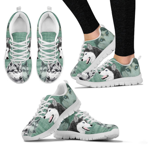 Siberian Husky Sketch Print Running Shoes For Women-Free Shipping