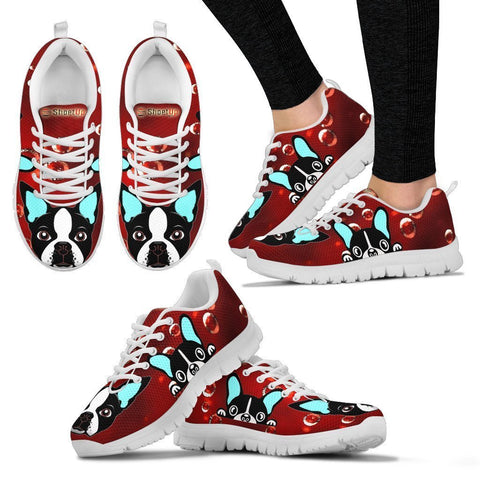 Boston Terrier On Red-Women's Running Shoes-Free Shipping