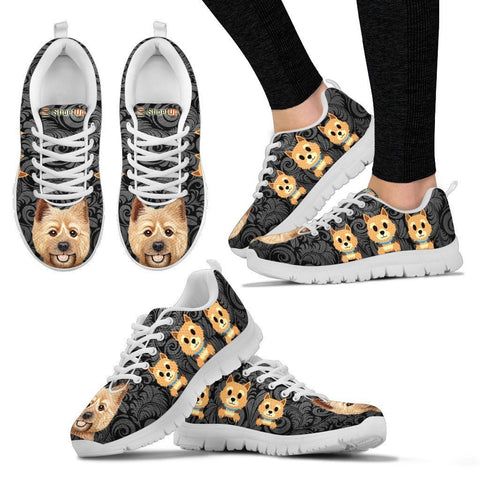 Norwich Terrier On Black-Women's Running Shoes-Free Shipping