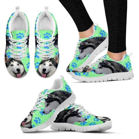 Siberian Husky Paws Print (Black/White) Running Shoes For Women-Free Shipping