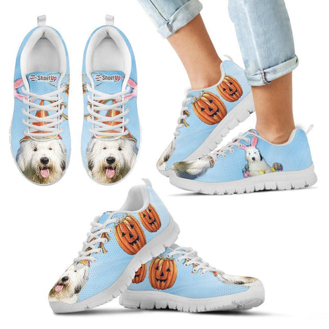 Old English Sheepdog Halloween Print Running Shoes For Kids- Free Shipping