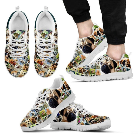 Lovely Pug Print-(Black/White) Running Shoes For Men-Express Shipping