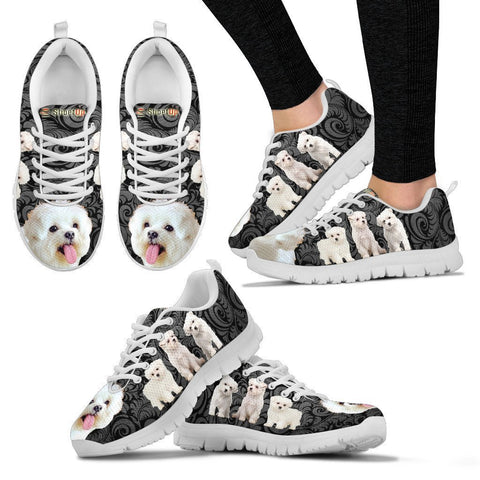 Maltese On Black-Women's Running Shoes-Free Shipping