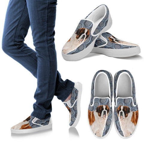 Saint Bernard Dog Print Slip Ons For Women-Express Shipping