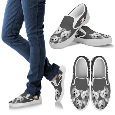 Three West Highland White Terrier Print Slip Ons For Women-Free Shipping