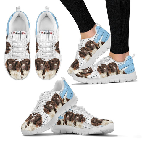 English Springer Spaniel Blue White Print Sneakers For Women-Free Shipping
