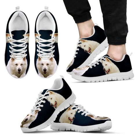 White Shepherd Print Sneakers For Men (White/Black)- Express Shipping
