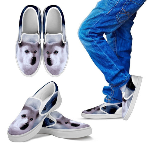 White Husky Print Slip Ons For Kids- Express Shipping
