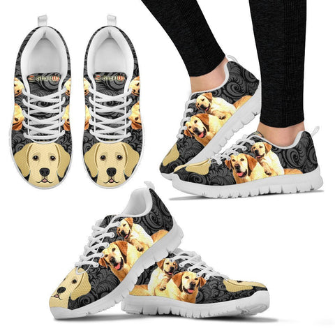 Labrador On Black-Women's Running Shoes-Free Shipping