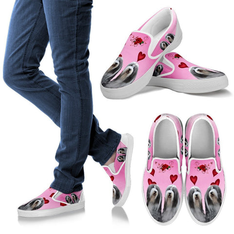 Valentine's Day Special-Bearded Collie Print Slip Ons For Women-Free Shipping