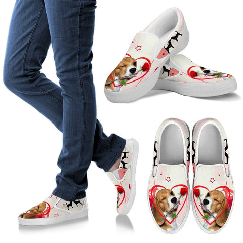 Valentine's Day Special Beagle Dog Print Slip Ons For Women- Free Shipping
