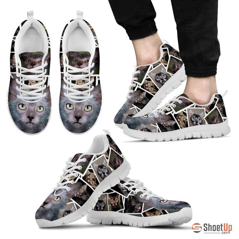 Lykoi Cat Print (White/Black) Running Shoes For Men-Free Shipping