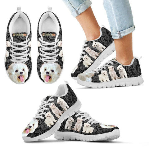 Maltese On Black Print-Kid's Running Shoes-Free Shipping