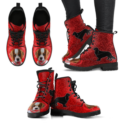 Valentine's Day Special-Cavalier King Charles Spaniel On Red Print Boots For Women-Free Shipping