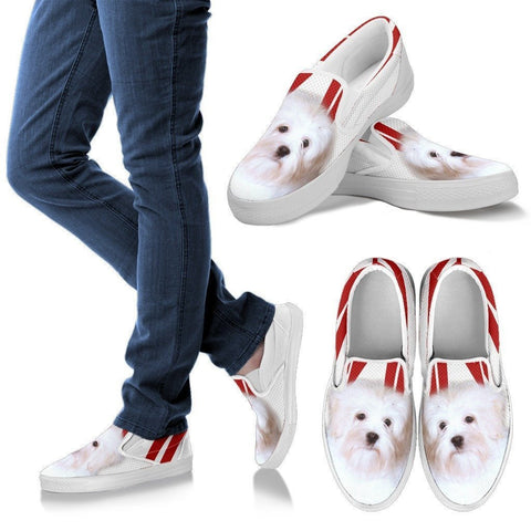 White Lowchen Print Slip Ons For Women- Express Shipping